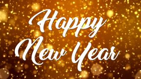 Wideo animacja boże narodzenie połysku cząsteczek złoty lekki bokeh i wiadomość szczęśliwy nowy rok - ilustracji