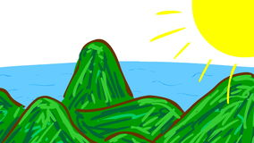 Wideo dziecko lubi prostą ilustrację morze z łódkowatym żeglowaniem od lewicy righ ilustracja wektor