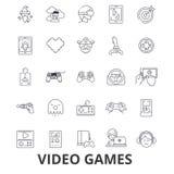Wideo gry komputerowe, kontroler, sztuka, ekran, arkada, konsola, joystick kreskowe ikony Editable uderzenia Płaski projekt ilustracja wektor