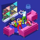 Wideo gry konsoli hazardu osoby wektoru Isometric ilustracja Zdjęcia Royalty Free