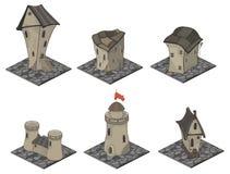 Wideo gry przedmioty: średniowieczny budynku set royalty ilustracja