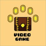 Wideo gry skarbu klatki piersiowej monety pieniądze ilustracja wektor
