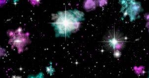 Wideo 4k lot w przestrzeń, galaxy, wszechświat Lot w przestrzeni, planetuje i gra główna rolę Abstrakcjonistyczny tło dla teledys ilustracja wektor
