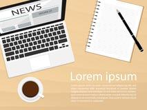 Wideo lać się prenumeruje zwolennika laptopu vectornotebook odgórnego widoku płaskiego ranku wiadomości kawowego wektor Obraz Royalty Free