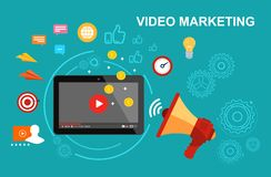 Wideo marketing Wideo monetization budowy ilustraci zapas pod wektorem fotografia royalty free