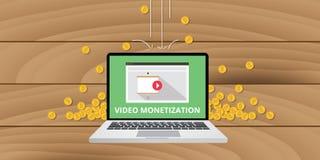 Wideo marketingowego monetization pieniądze złocista moneta Fotografia Royalty Free