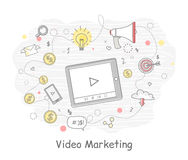 Wideo Marketingowi podejścia, miary i metody, ilustracja wektor