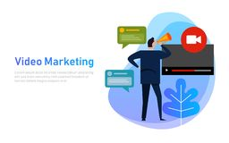 Wideo marketingowy płaski projekta pojęcia vlog Biznesowy mężczyzna rozwija korytkowy wideo online mieć gadki rozmowę ilustracja wektor