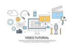 Wideo Tutorial redaktora pojęcia Nowożytnej technologii Ustalone ikony royalty ilustracja
