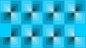 Wideo wstęp z błękitnymi kwadratami w sztuka stylu, spada elementy buduje checker, niektóre one wiruje, zbliżający royalty ilustracja
