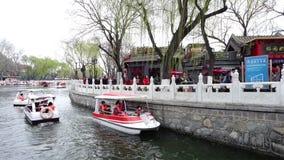 wideo Yinding most Houhai jezioro w Shichahai i, Pekin zdjęcie wideo