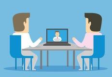 Wideokonferencja z dalekim pracownikiem ilustracji