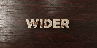 Wider - grungy wooden headline on Maple  - 3D rendered royalty free stock image Royalty Free Stock Photo