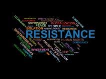 Widerstand - Wortwolke wordcloud - Ausdrücke von der Globalisierungs-, Wirtschafts- und Politikumwelt lizenzfreie abbildung