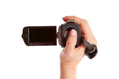 Widescreen camera. (focus on the blank display royalty free stock photo