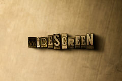 WIDESCREEN - close-up of grungy vintage typeset word on metal backdrop Stock Photography