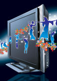 Widescreen dance. Widescreen television over a dark background featuring drama and dance around it Stock Photography