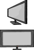 Widescreen Flat Panel TV. Isolated cartoon of a widescreen flat panel HD television monitor Royalty Free Stock Photography