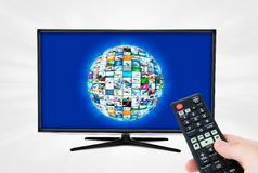Widescreen high definition TV screen with sphere video gallery. Stock Photos