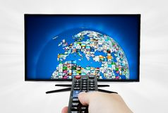 Widescreen high definition TV screen with sphere video gallery. Royalty Free Stock Image