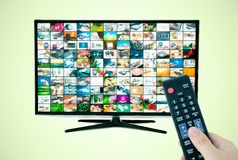 Widescreen high definition TV screen with video gallery. Royalty Free Stock Photo
