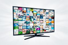 Widescreen high definition TV screen with video gallery. Royalty Free Stock Photography