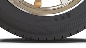 Widescreen image of a winter car tire. 3D illustration stock illustration