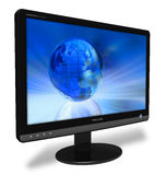 Widescreen LCD display. Black widescreen LCD display isolated over white background Stock Images