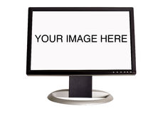 Widescreen LCD monitor. A wide screen LCD monitor on a white background -add your own image or text stock image