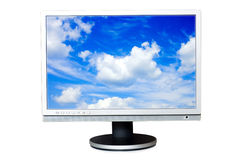 Widescreen LCD panel. With cloudscape on the screen Stock Photo