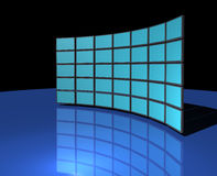 Widescreen monitor wall stock illustration