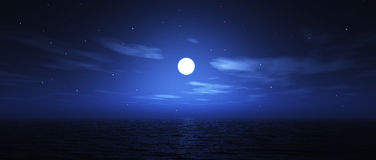 Widescreen moon over sea. 3D render of the moon over the ocean in widescreen Royalty Free Stock Photos