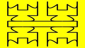 Odd shape, widescreen. Widescreen odd geometrical shape in black against yellow mirrored both in the vertical and horizontal planes stock illustration