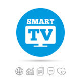 Widescreen Smart TV sign icon. Television set. Widescreen Smart TV sign icon. Television set symbol. Copy files, chat speech bubble and chart web icons. Vector stock illustration
