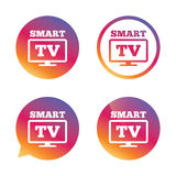 Widescreen Smart TV sign icon. Television set. Widescreen Smart TV sign icon. Television set symbol. Gradient buttons with flat icon. Speech bubble sign. Vector vector illustration