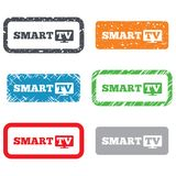 Widescreen Smart TV sign icon. Television set. Stock Images