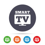 Widescreen Smart TV sign icon. Television set. Stock Photo