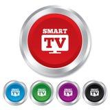 Widescreen smart TVteckensymbol. Televisionuppsättning. Arkivbild