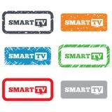Widescreen smart TVteckensymbol. Televisionuppsättning. Arkivbilder