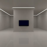 Widescreen Television in White Room Royalty Free Stock Photos