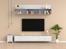 Widescreen TV and sideboard in living room, 3D rendering stock illustration