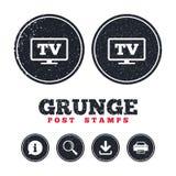 Widescreen TV sign icon. Television set symbol. Stock Photos