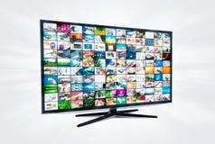 Widescreen TVskärm för hög definition med det videopd gallerit Royaltyfri Fotografi