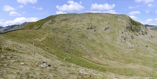 Widescreen view of Birkhouse Moor eastern side Royalty Free Stock Photography
