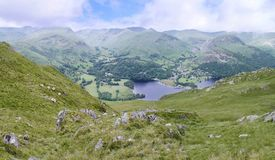 Widescreen view down to Ullswater, Lake District Royalty Free Stock Photos