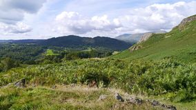 Widescreen view over coutryside to hills Royalty Free Stock Photography