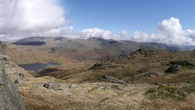 Widescreen view to Easedale Tarn, Lake District Royalty Free Stock Images