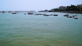 Wideshot of boats anchored in bay. A static wide shot of an open bay with many boats anchored in the background stock video footage