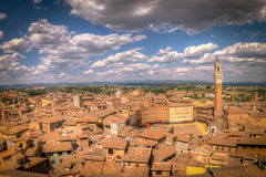 Wideshot of Siena, Italy. View of Siena, a city in Italy's central Tuscany.   The city's 17 historic contrade (wards) extend from the square, Piazza del Campo at Stock Images