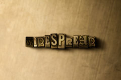 WIDESPREAD - close-up of grungy vintage typeset word on metal backdrop. Royalty free stock illustration.  Can be used for online banner ads and direct mail Royalty Free Stock Image